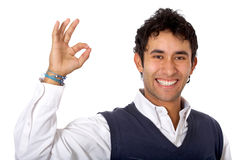 Casual man doing the ok sign Stock Photo