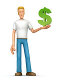 Casual man with dollar Stock Images