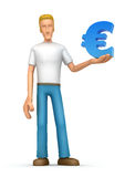 Casual man with euro Royalty Free Stock Images