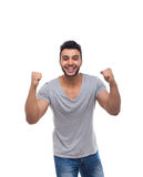 Casual Man Excited Hold Hands Fist Up Happy Smile Royalty Free Stock Photos