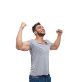 Casual Man Excited Look Up Happy Smile Stock Photography