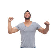 Casual Man Excited Look Up Happy Smile Royalty Free Stock Images