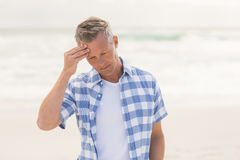 Casual Man Feeling Worried Royalty Free Stock Photography