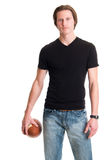 Casual Man with Football Royalty Free Stock Photos