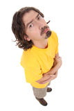 Casual man with a funny face. Casual man closeup with a funny face isolated on white royalty free stock photography