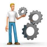 Casual man with gears Royalty Free Stock Photos