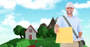 Casual man giving yellow paper royalty free stock photography