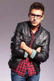 Casual man with glasses and leather jacket Royalty Free Stock Photography