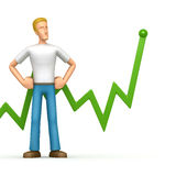 Casual man with green diagram Royalty Free Stock Photo