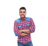 Casual Man Happy Smile Young Handsome Guy Folded Hands Royalty Free Stock Photo