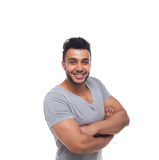 Casual Man Happy Smile Young Handsome Guy Folded Hands Royalty Free Stock Photos