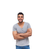 Casual Man Happy Smile Young Handsome Guy Folded Hands Stock Photos