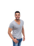 Casual man happy smile young handsome guy. Wear shirt jeans isolated white background royalty free stock photography