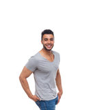 Casual man happy smile young handsome guy. Wear shirt jeans isolated white background royalty free stock photos