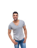 Casual man happy smile young handsome guy. Wear shirt jeans isolated white background stock photos