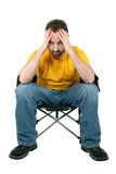 Casual Man With Headache Or Upset Over White Stock Image