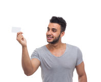 Casual Man Hold Blank Board Look Side Stock Photo
