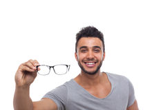 Casual Man Hold Eye Glasses Young Businessman Royalty Free Stock Photography