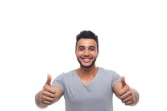 Casual Man Hold Thumb Up Happy Smile Young Handsome Guy Stock Photo