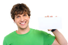 Casual man holding the blank card Stock Photos