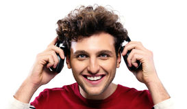 Casual man holding headphones Royalty Free Stock Image