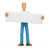 Casual man  holds up a poster Royalty Free Stock Photos