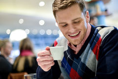 Casual Man In Cafe With Coffee Stock Photos