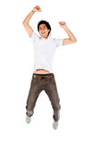 Casual man jumping Royalty Free Stock Photo