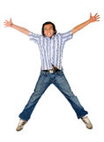 Casual man jumping in the air Royalty Free Stock Photo