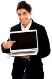 Casual man with a laptop Royalty Free Stock Photo