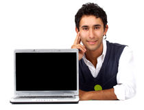 Casual man with a laptop Stock Photography