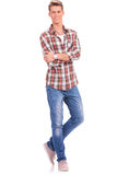 Casual man legs and arms folded Stock Photos