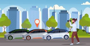 Casual man looking through binoculars searching automobile with location pin rent car sharing concept transportation. Carsharing service modern cityscape vector illustration