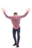 Casual man looking very happy stock photography