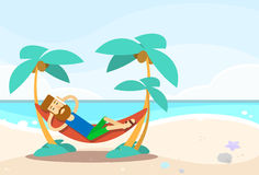 Casual Man Lying In Hammock Seascape Beach Vacation Royalty Free Stock Image