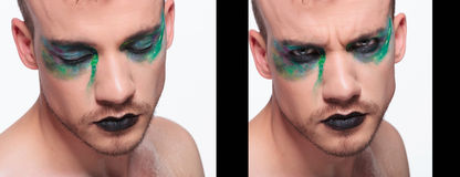 Casual man with makeup dual side by side Royalty Free Stock Photos