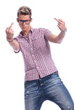 Casual man middle fingers Stock Photography
