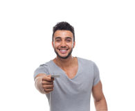Casual Man Offer Blank Board Happy Smile Royalty Free Stock Photos