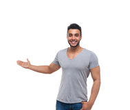 Casual Man Open Palm Gesture To Copy Space Stock Photo