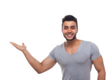 Casual Man Open Palm Gesture To Copy Space Stock Images