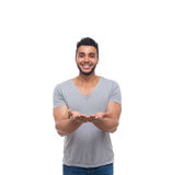 Casual Man Open Palms Gesture Happy Smile Stock Photography
