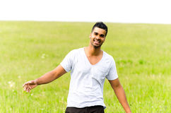 Happy casual man outdoors Royalty Free Stock Images