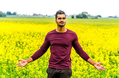 Casual man outdoors on a field Stock Image