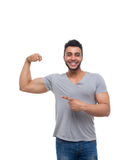Casual Man Point Finger Strong Biceps stock photos