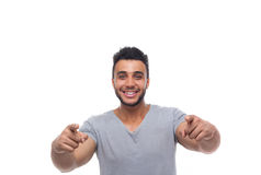 Casual Man Point Finger At You Happy Smile Young Handsome Guy Stock Photos