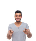 Casual Man Point Finger At You Happy Smile Young Handsome Guy Stock Photo