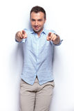 Casual man pointing with both hands at you Royalty Free Stock Photography