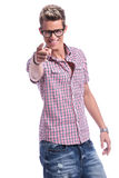 Casual man pointing forward Royalty Free Stock Image