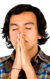Casual man praying Stock Photos
