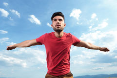 Free Casual Man Pretending To Fly Royalty Free Stock Photos - 33178508
